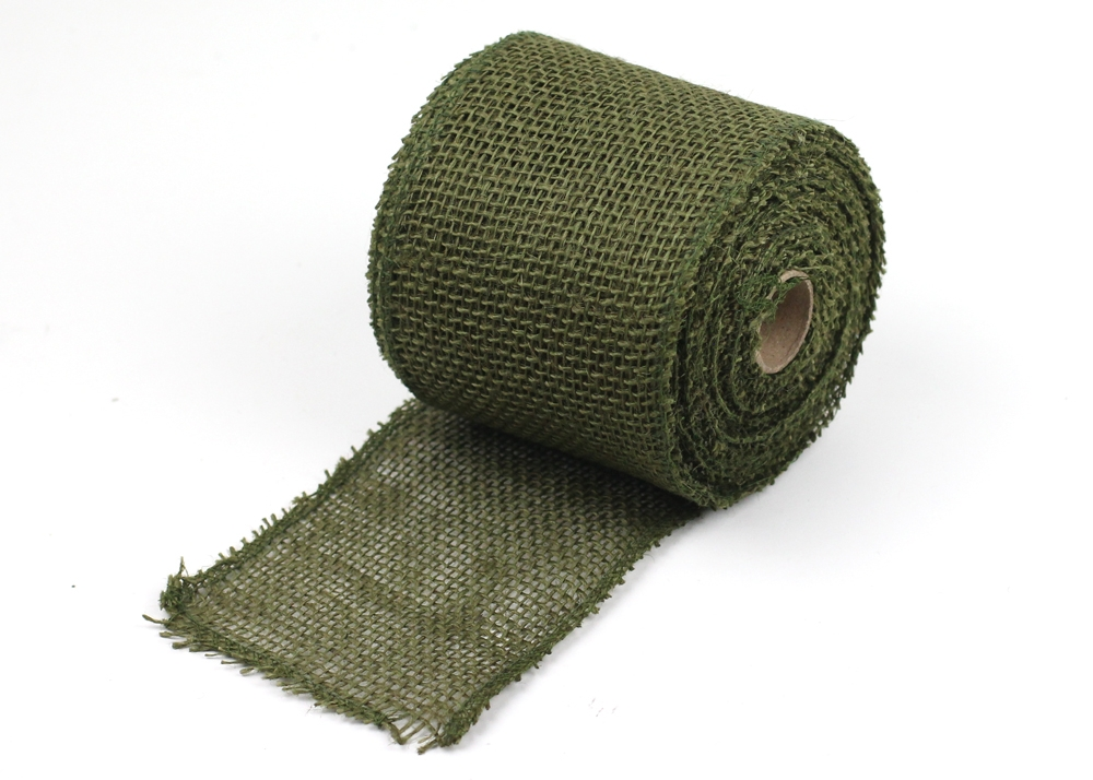 "Moss Burlap Ribbon - 4"" x 10 Yards (Serged Edges)"