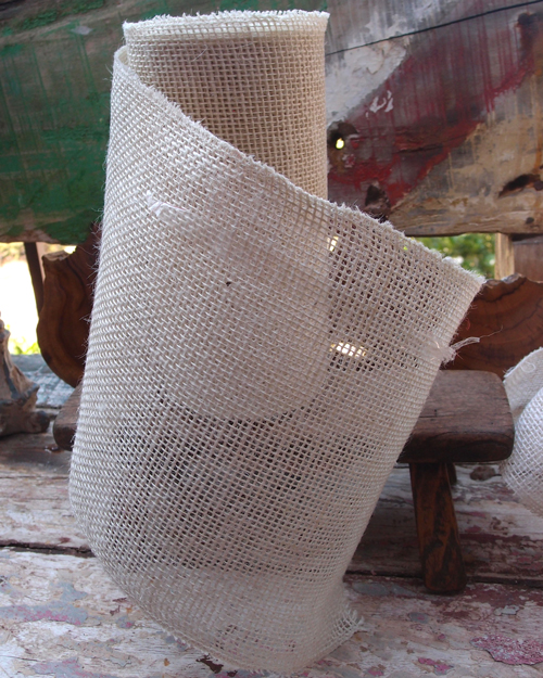 "White Burlap Ribbon - 9"" x 10 Yards (Serged Edges)"