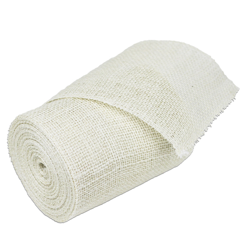 "White Burlap Ribbon - 6"" x 10 Yards (Serged Edges)"