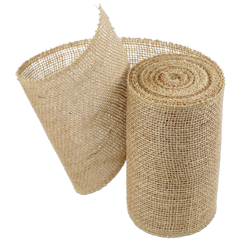 "Natural Burlap Ribbon - 6"" x 10 Yards (Serged Edges)"