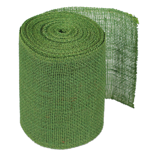 "Green Burlap Ribbon - 6"" x 10 Yards (Serged Edges)"