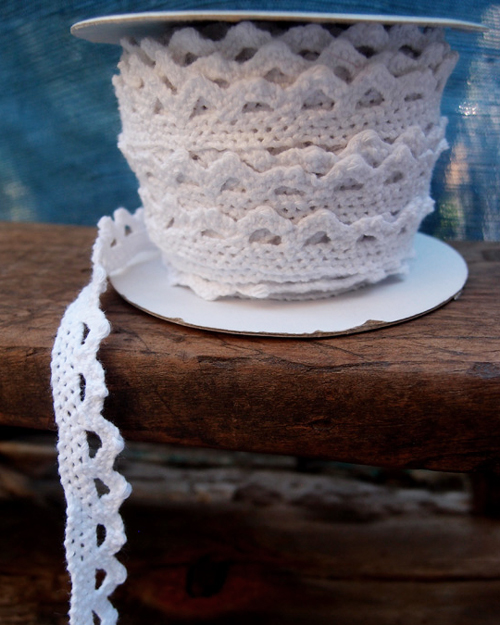 Lace Crochet Cotton Ribbon - 1/2 x 10 Yds White
