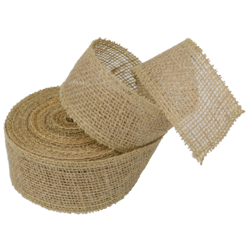 "Natural Burlap Ribbon - 2"" x 10 Yards (Serged Edges)"