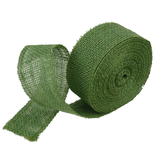 "Green Burlap Ribbon - 2"" x 10 Yards (Serged Edges)"