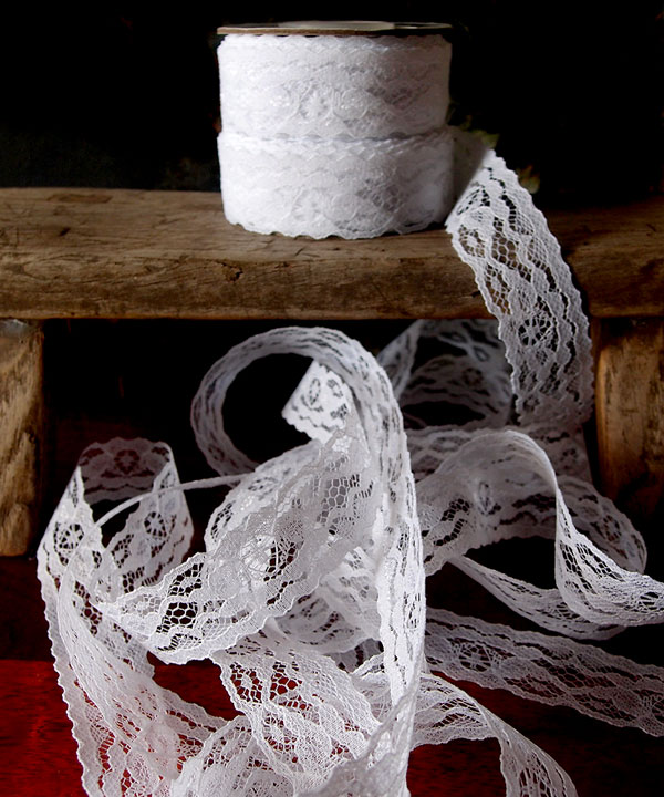 White Floral Lace - 1 x 25 Yd Ribbon