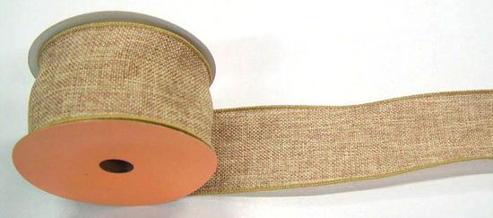 2.5 Faux Burlap Natural Ribbon 10 yds