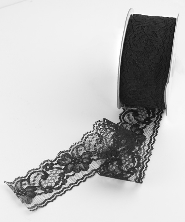 "Black Lace Ribbon - 2"" x 25 Yards"
