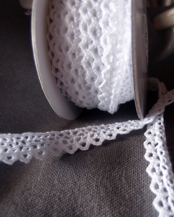 Crochet Cotton - White Lace 3/8 x 10 Yd Ribbon