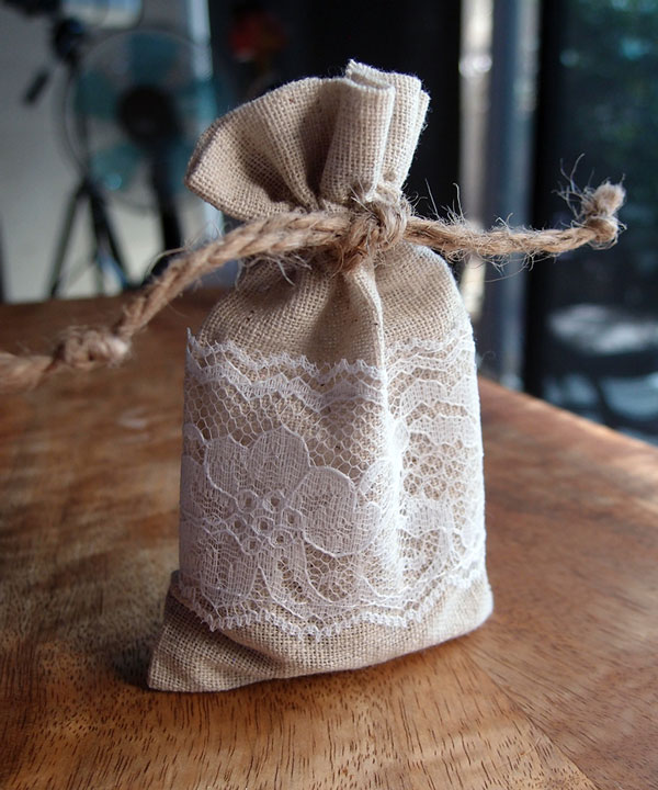 Linen and Lace 3x5 Drawstring Bags - 12 Pack
