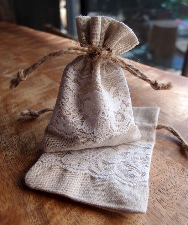 Linen and Lace 3x4 Drawstring Bags - 12 Pack