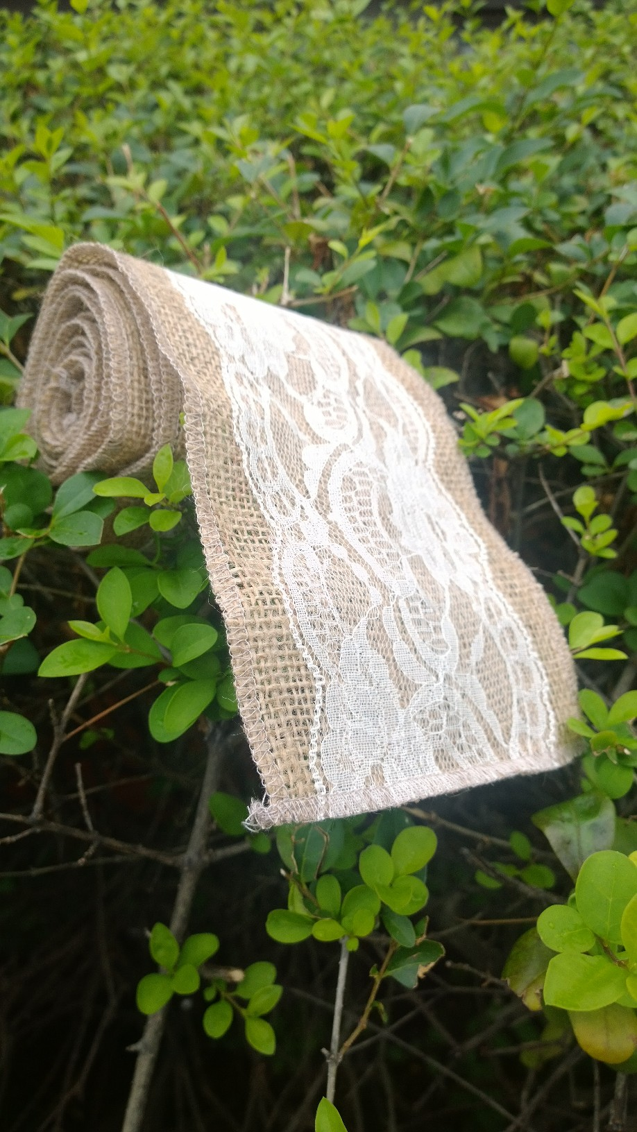 "Burlap Lace Ribbon (Ivory) 5"" 5 Yards- 4"" Lace"