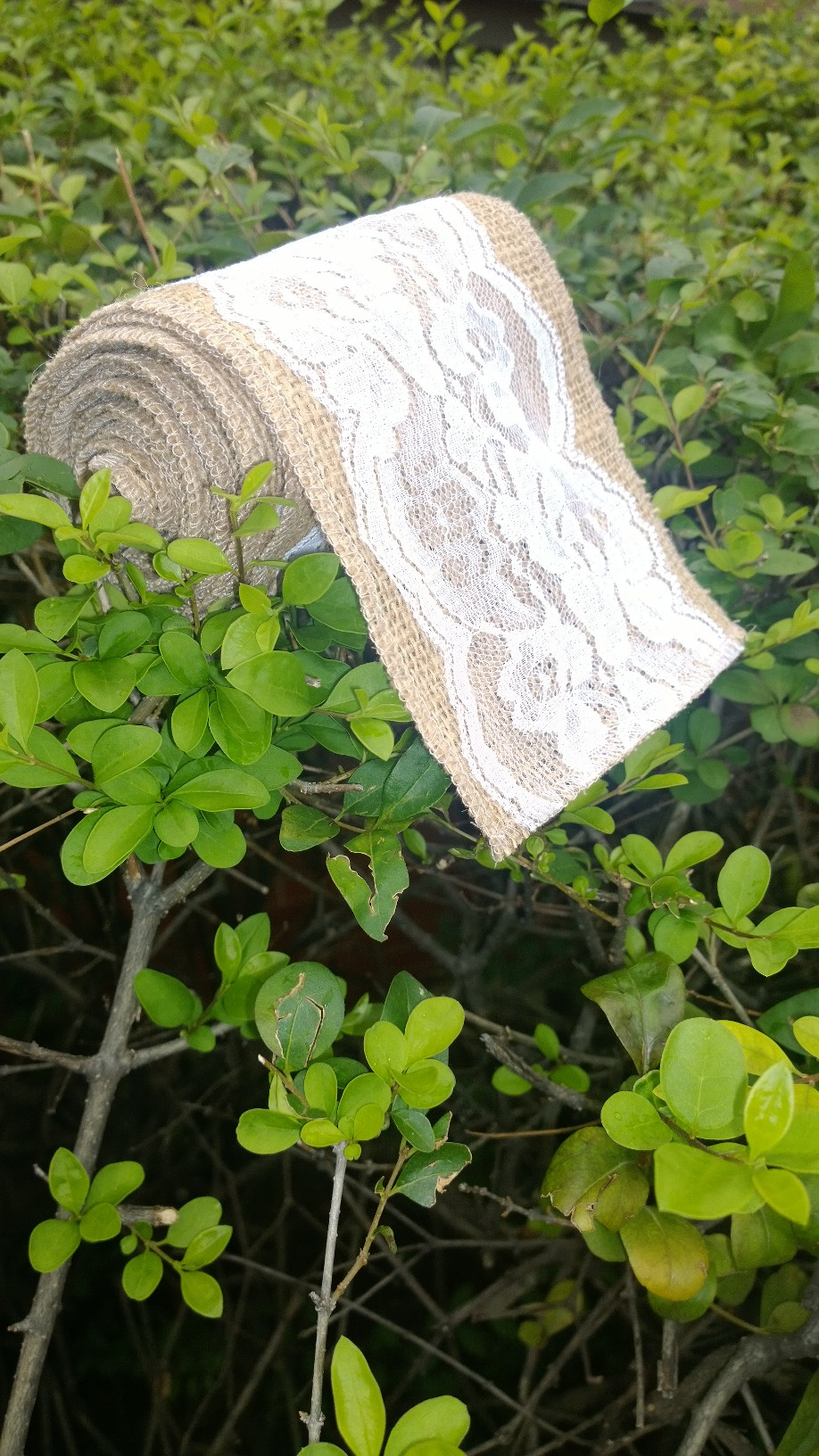 "Burlap Lace Ribbon- 5"" White 5 Yards (4"" Lace)"
