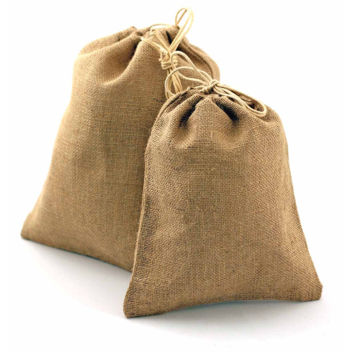 "Natural Burlap Bag w/ Jute Drawstring - 10"" x 14"" (12 Pack)"
