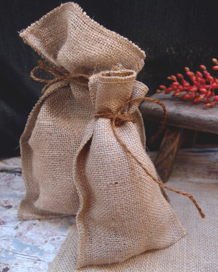 "Natural Burlap Pouch Bag - 4.75"" x 7.5"" (12 Pack)"