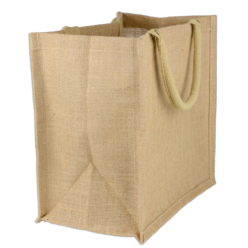 "Natural Jute Tote Bag - 12"" x 12"" x 7.75"""