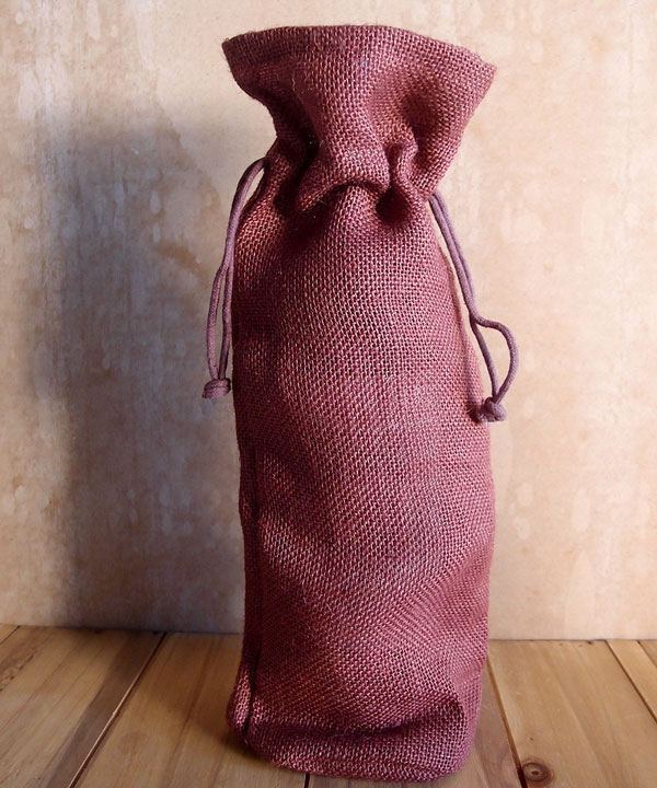 "Burlap Wine Bag W/ Drawstring in Burgundy - 6"" x 15"" x 3.5"""