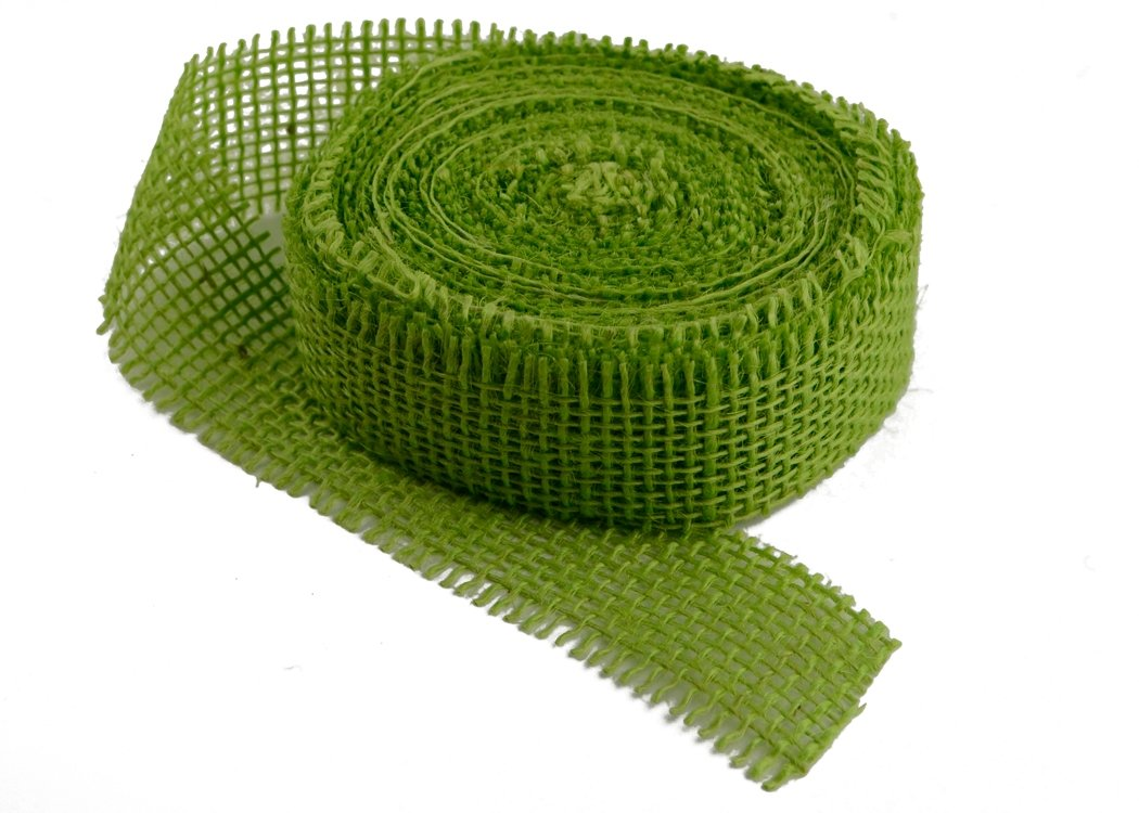 "Chartreuse Burlap Ribbon - 1.5"" x 10 Yards (Frayed Edges)"