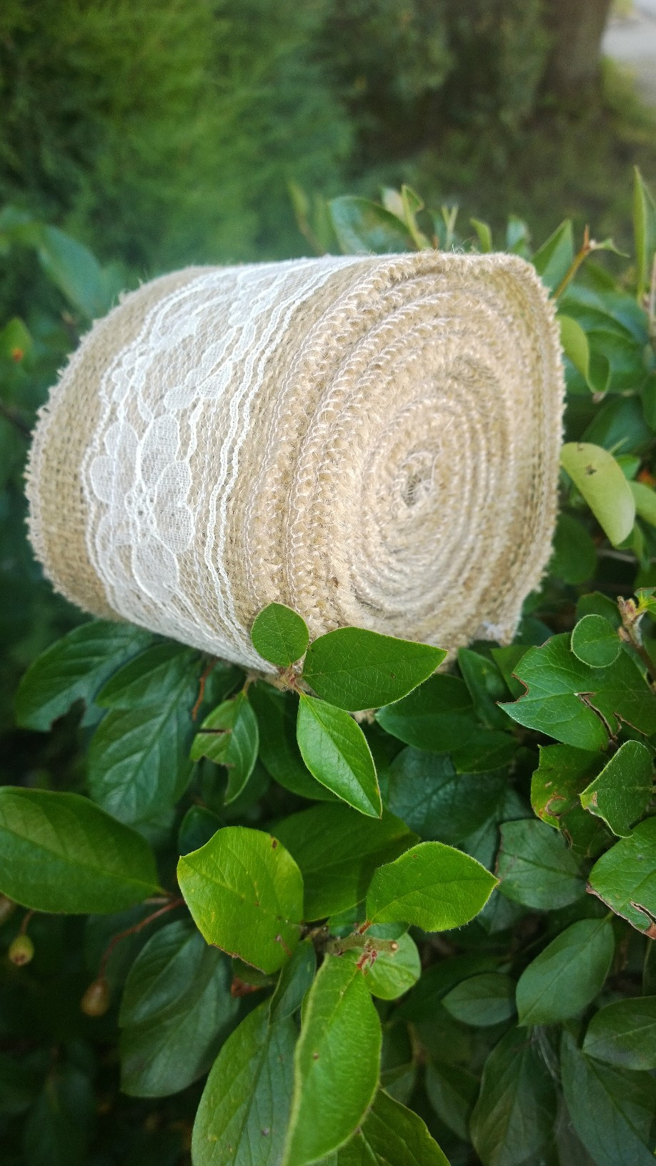 "Ivory Burlap Lace Ribbon-3"" 5 Yards"