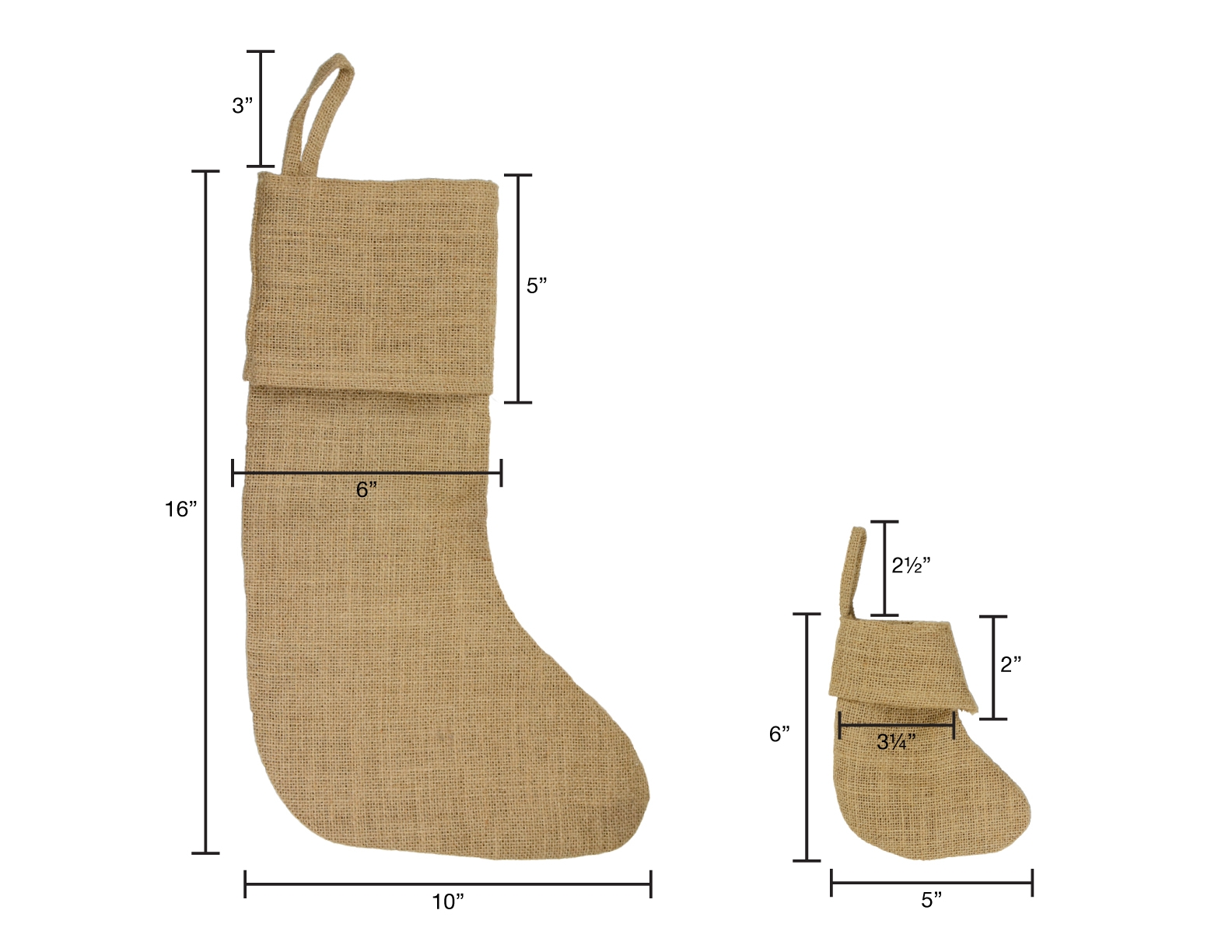 "10""W x 16""H Burlap Stocking"