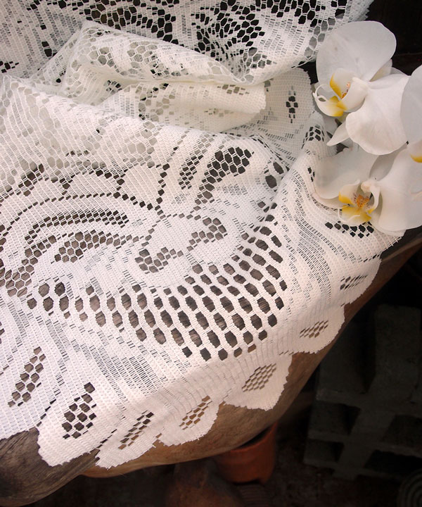 "Ivory Lace Table Runner - 13"" X 120"" Floral style"