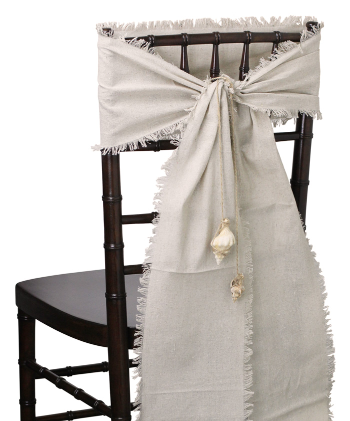 "Linen Chair Sashes (Fringed Edges) - 8"" x 108"""