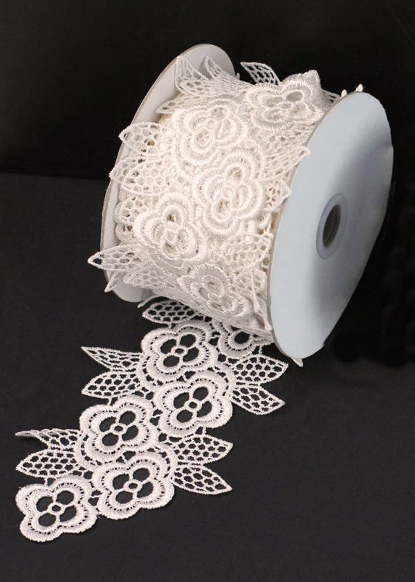 "Ivory Lace 4"" 5 Yd Ribbon"