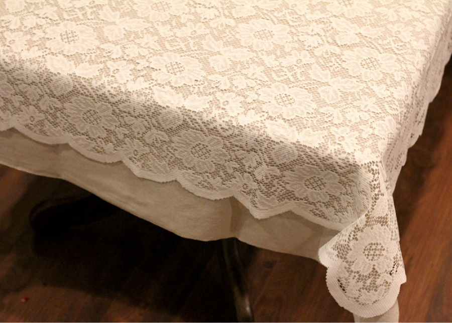 "Floral Lace Table Overlay (Ivory)-54""x54"""