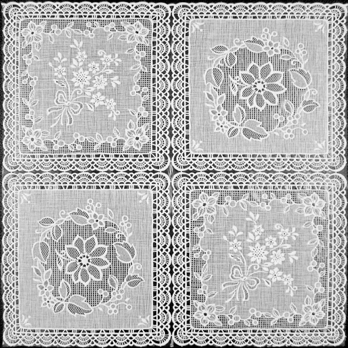 "White Vinyl Lace OilCloth (Without Felt Back) - 54"" x 30 Yard"