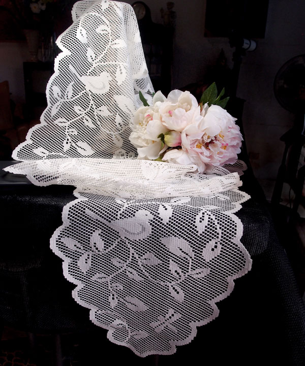 "Lace Table Runner - 13"" x 96"" Avian Style"