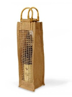 "Eco-friendly Jute Wine Bag with Mesh Side - 4"" x 4"" x 14"