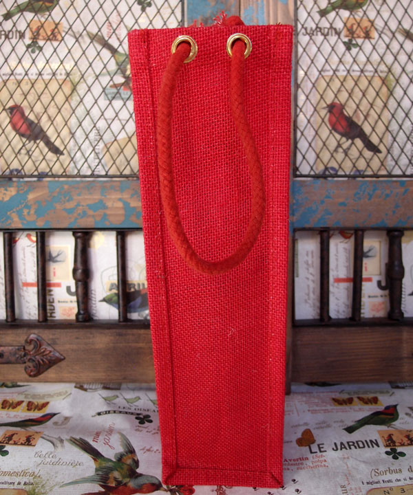 "Red Jute Wine Bag with Rope Handles - 4"" x 4"" x 14"""
