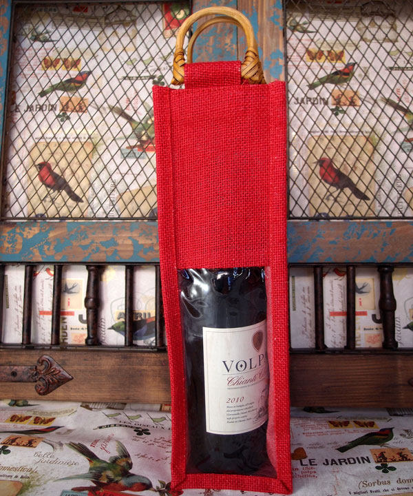 "Red Jute Wine Bag with Clear Window - 4"" x 4"" x 14"