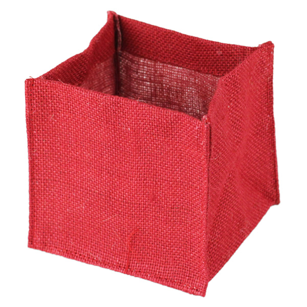 Burlap Vase Holder- 6X6X6 Red (1 Dozen)