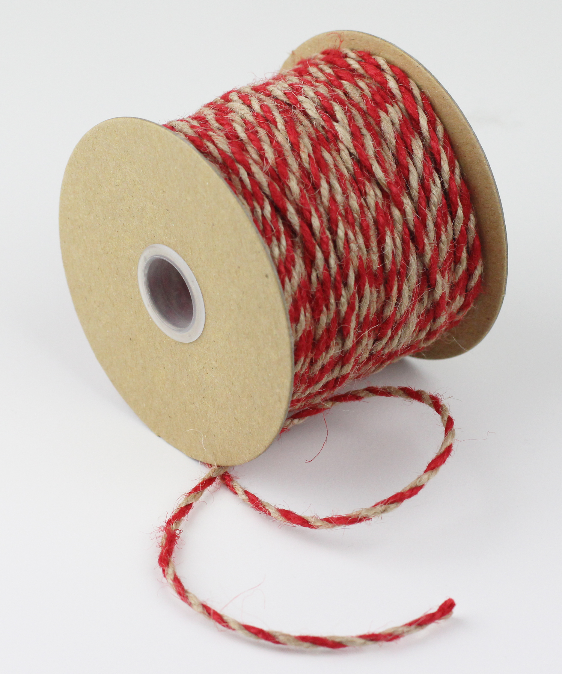 Red/Natural Jute Twine - 2.5mm x 50 Yards
