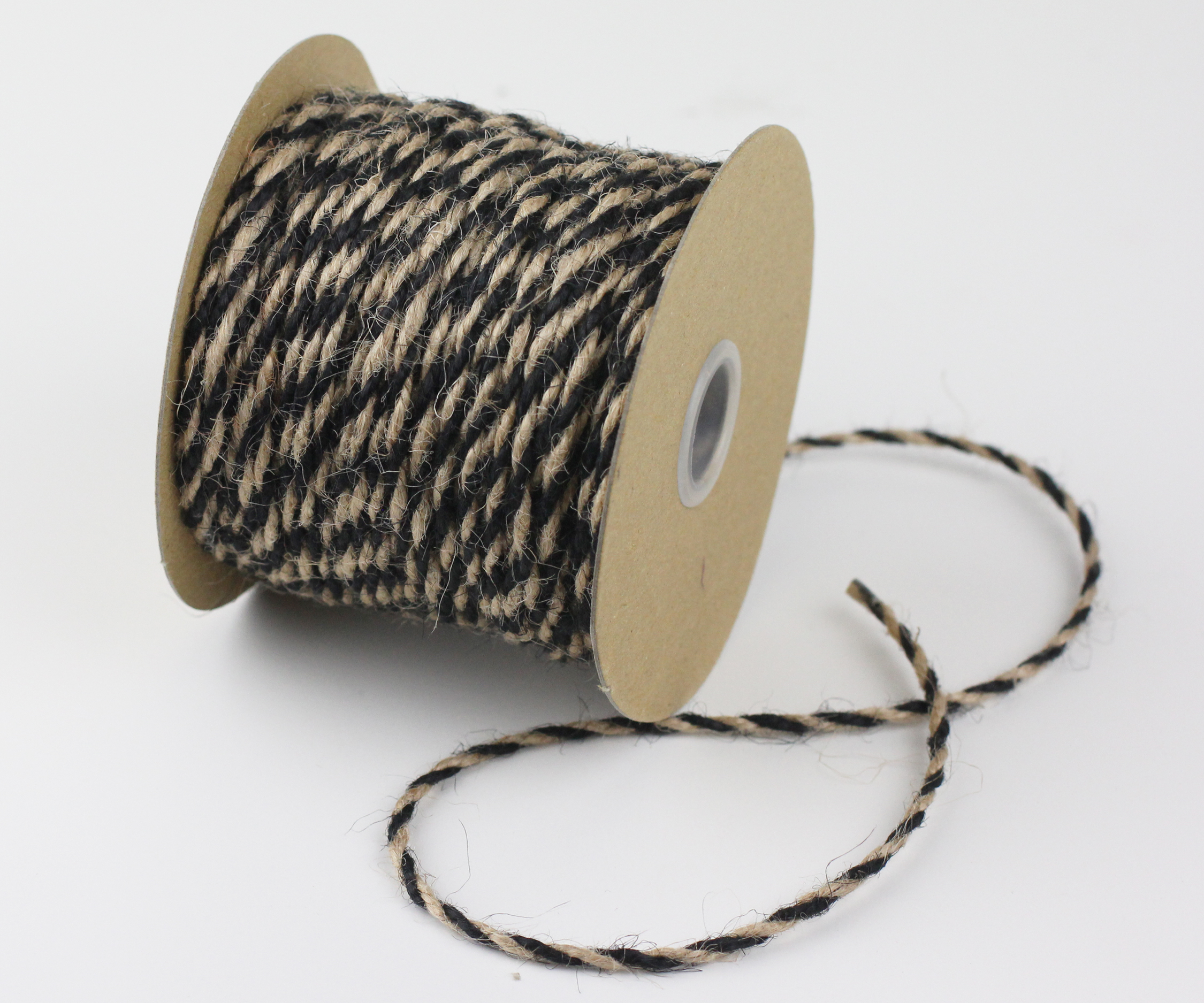 Black/Natural Jute Twine - 2.5mm x 50 Yards