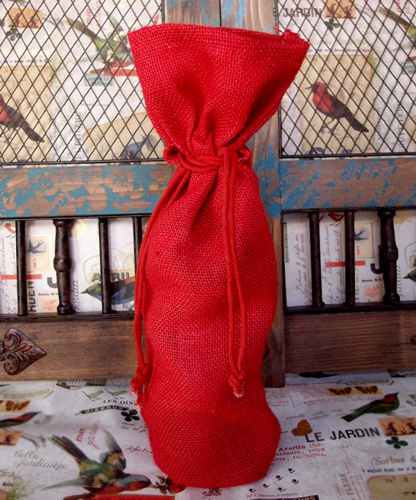 "Burlap Wine Bag W/ Drawstring in Red - 6"" x 15"" x 3.5"""