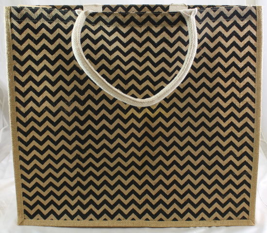 "20"" x 7"" x 18"" Chevron Jute Tote Bag (Black/Natural)"