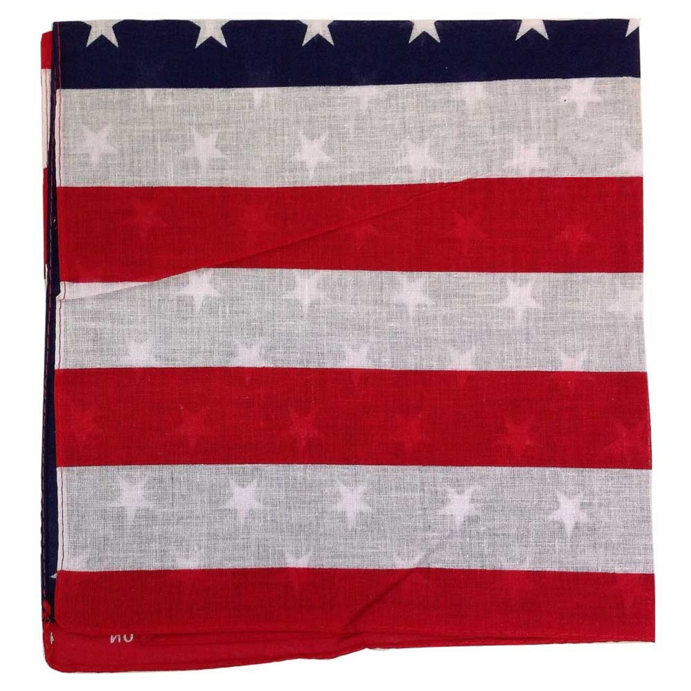 "100% Cotton American Flag Bandana - 22"" x 22"""