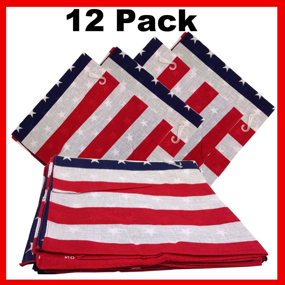 "100% Cotton American Flag Bandanas - 22"" x 22"" Pack of 12"
