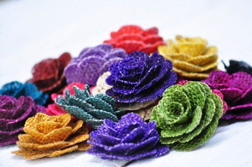 "2"" Diameter Assortment of Burlap Flowers (1 Dozen)"