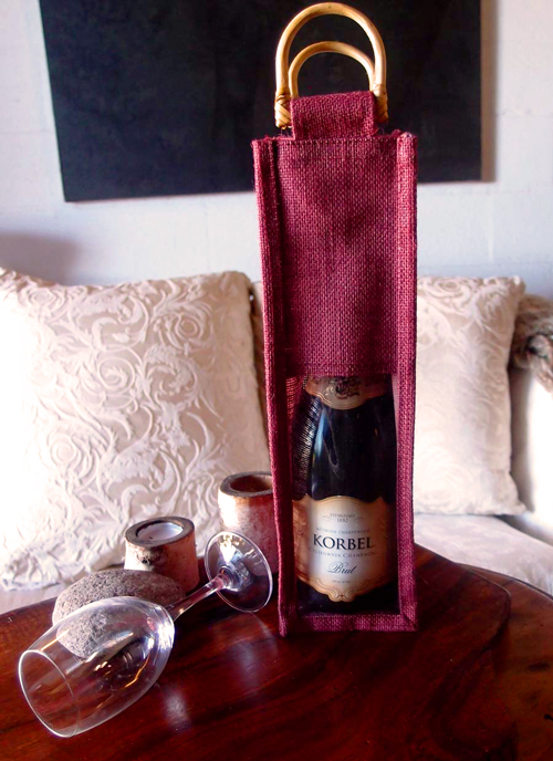 "Burgundy Jute Wine Bag with Clear Window - 4"" X 4"" x 14"""