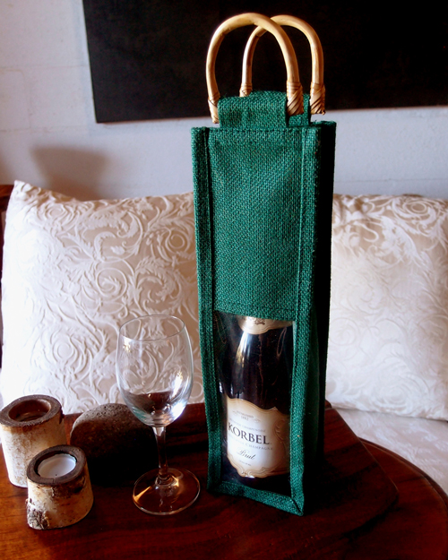 "Green Jute Wine Bag with Clear Window - 4"" x 4"" x 14"""