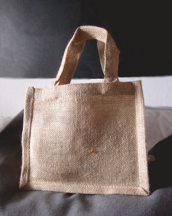 "Natural Jute Tote Bag - 7"" x 6"" x 2 (Pack of 6)"