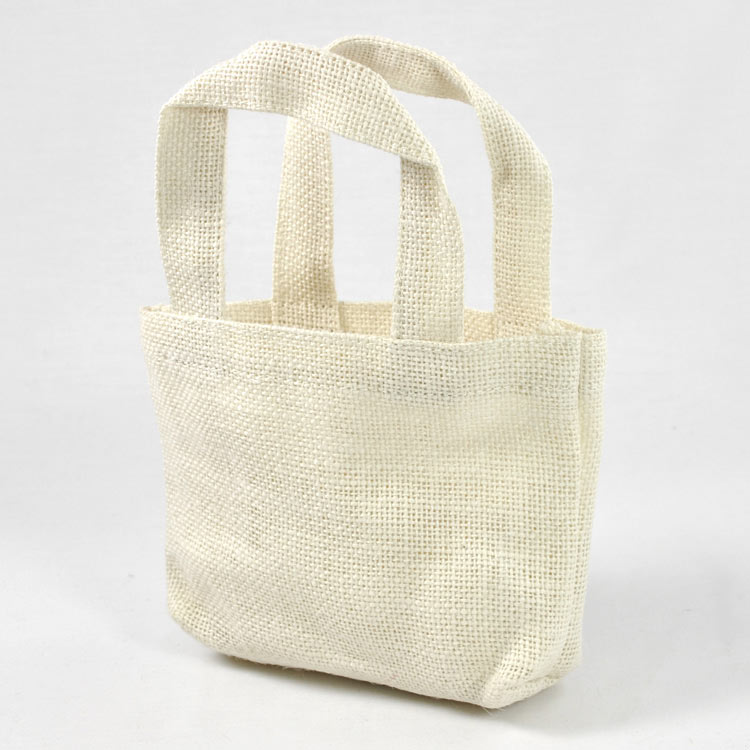 "Off White Jute Tote Bag - 5"" x 5"" x 2"" (Sold in a Pack of 6)"