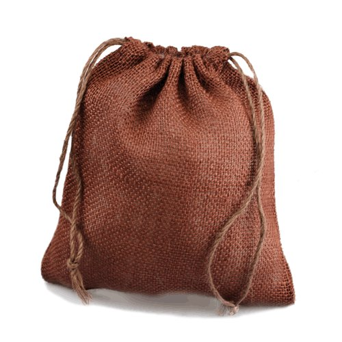 "Chocolate Burlap Bag w/ Jute Drawstring - 12"" x 14"" (10 Pack)"