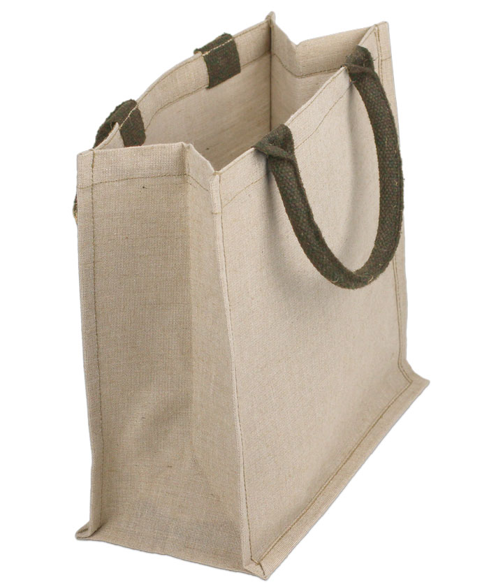 "Natural Jute & Cotton Mix Tote Bag - 12"" x 12"" x 7 3/4"""