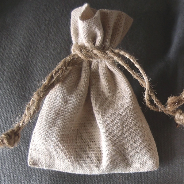 "Linen Bag w/ Jute Drawstring - 3"" x 4"" (Sold in a Dozen)"