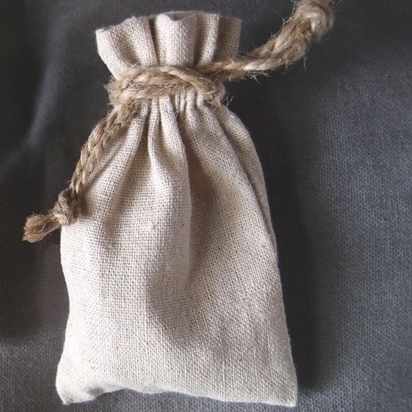 "Linen Bag w/ Jute Drawstring - 3"" x 5"" (Sold in a Dozen)"