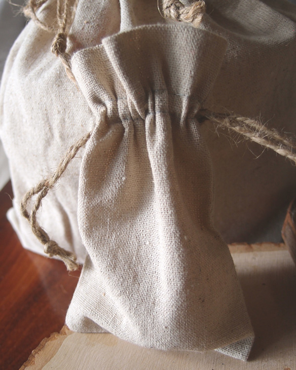 "Linen Bag w/ Jute Drawstring - 4"" x 6"" (Sold in a Dozen)"