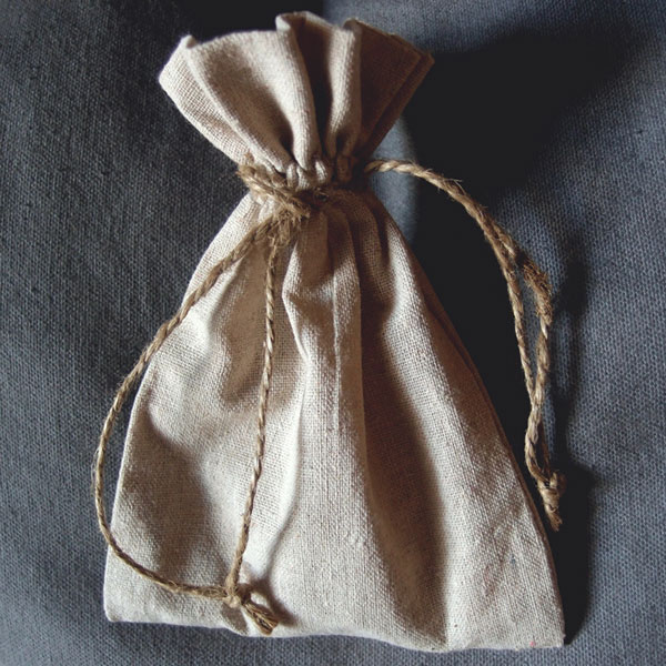"Linen Bag w/ Jute Drawstring - 5"" x 7"" (Sold in a Dozen)"